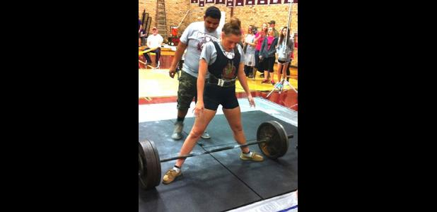 Abby Kunkel, Ranger's powerlifting ace, is set to lift.
