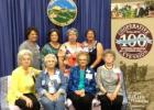 Those attending the Conference were: Back row: Sandy Owen, Janis Keith, Cheri Clark, Millie Barrow. Front row: Clara Mathews, Marji Lamb, Sue Allsup, and Joyanne Hathcock, and (not pictured) FCS Agent, Marie Arick from the Morton Valley EE Club, Eastland County, District 8.